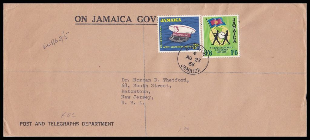 Salvation Army FDC Jamaica 1965